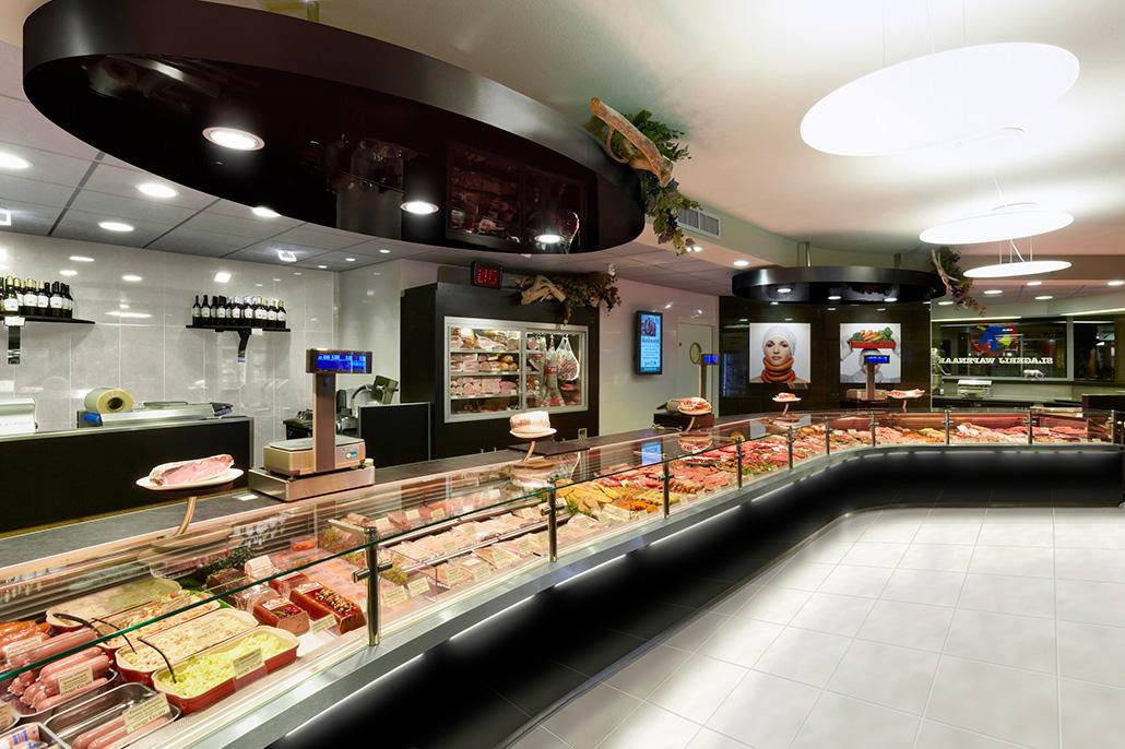 Interieur van een slagerswinkel, zwarte kleur-uitstraling. Berebeeld beeldmanipulatie voor HET bureau voor reclame.
