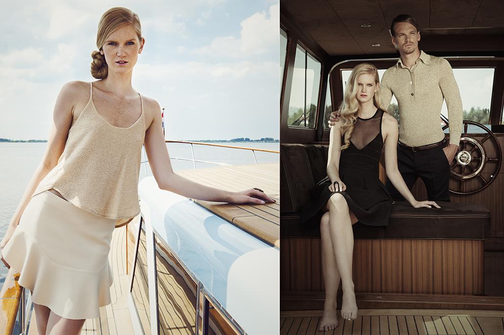 Vrouwelijk model op jacht. Beeldbewerking van fashionshoot voor Jolanda van der Linden.