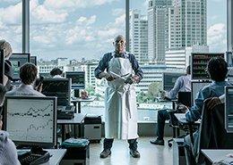 Kantoor bankpersoneel met slager in het midden. Beeldbewerking voor Olaf van Gerwen.