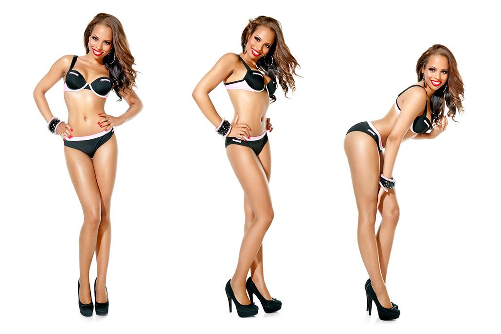 Foto 3 maal dezelfde vrouw in lingerie. Berebeeld beeldretouche voor Herman van Gestel | SAPPH.