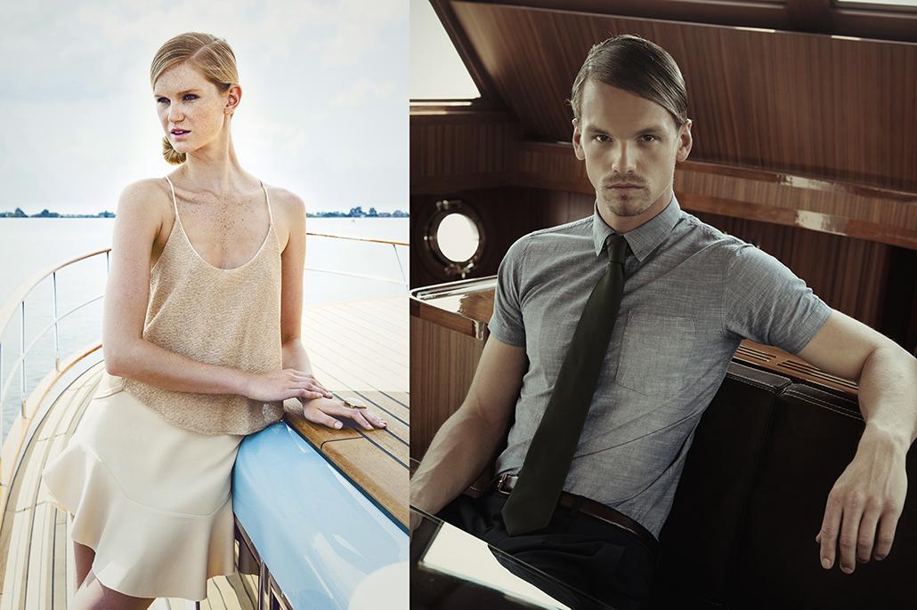 Vrouwelijk en mannelijk model op jacht. Beeldbewerking van fashionshoot voor Jolanda van der Linden.